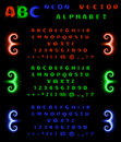 Set of neon alphabet and numbers on a black background. Red, blue, green neon gradient. Vector illustration