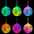 Set of neon colorful Christmas ball isolated on black background. Vector illustration for design Royalty Free Stock Photo