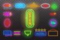 Set of neon sign light at night transparent background vector illustration, bright glowing electric advertis