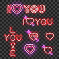 Set of neon signs I LOVE YOU