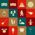 Set Neptune Trident, Magician hat and rabbit, lamp or Aladdin, Masons, runes, stone ring with gem, Three tarot cards and Royalty Free Stock Photo