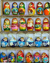 Set of nesting dolls box with russian souvenir Royalty Free Stock Photo