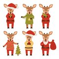 Set of new year deer isolated on white background. Cartoon characters. Vector illustration