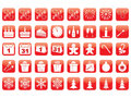 Set of new year icons red Royalty Free Stock Images