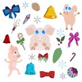 Set of new year pigs. Isolated objects on a white background.Christmas theme. Decorations for design