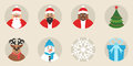 A set of New Year`s or Christmas icons. Flat design. Vector. The cute characters. The traditional elements of the holiday.