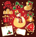 Set New Year's, christmas symbols and elemnts. Royalty Free Stock Images