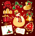 Set New Year's, christmas symbols and elemnts. Royalty Free Stock Photo