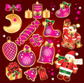 Set New Year's, christmas symbols and elemnts. Stock Photo