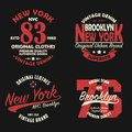 Set of New York, Brooklyn vintage brand graphic for t-shirt. Original clothes design with grunge. Authentic apparel typography.