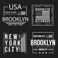 Set of New York City, Brooklyn typography for t-shirt print. American flag in white color. T-shirt graphics Royalty Free Stock Photo