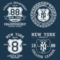 Set of New York, NY vintage graphic for t-shirt. Collection of original clothes design with shield and number. Apparel typography.