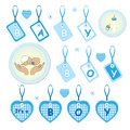 Set newborn baby boy design as labels stickers elements its boy baby shower doodles style isolated white background vector Stock Photos