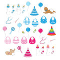 Set newborn baby stuff doodles style isolated white background vector Stock Photography