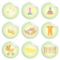 Set newborn baby stuff stickers doodles style isolated white background vector Stock Image