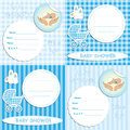 Set newborn boy baby shower announcement invitation cards Royalty Free Stock Images