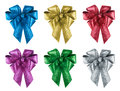 Set of nice gift bows in 6 different colours Royalty Free Stock Photo