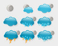 Set of  night weather forecast icons Royalty Free Stock Photography
