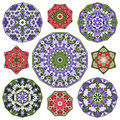 Set of nine abstract circular round colorful mandalas elements.