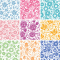Set of nine abstract flowers seamless patterns backgrounds this is file eps format Royalty Free Stock Image
