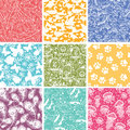Set of nine animal vector seamless patterns backgrounds with hand drawn elements Stock Images