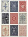Set of nine antique vintage playing card backs. Royalty Free Stock Photo