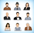 Set of nine avatars collection different type persons portrait illustrations Stock Image