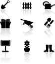 Set nine black garden icons Royalty Free Stock Image