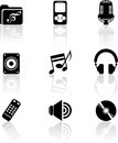 Set nine black music icons white Stock Photos