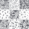 Set of nine black and white floral seamless abstract patterns backgrounds Royalty Free Stock Photo