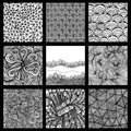 Set of nine black and white wave patterns Stock Photo