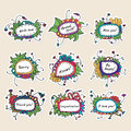 Set of nine cards with abstract hand drawn floral pattern. Royalty Free Stock Photo