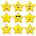 Set of nine cartoon gold stars Stock Photography