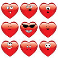Set of nine cartoon hearts Stock Image