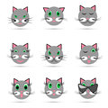 Set of nine cat smiles Royalty Free Stock Photo