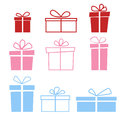 Set of nine colorful icons of gift boxes on light background.
