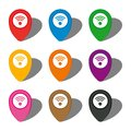 Set of nine colorful map pointers with wi-fi sign in white circle