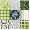Set of nine colorful seamless patterns Stock Image