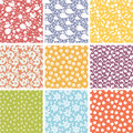 Set of nine cute elements seamless patterns backgrounds with hand drawn Stock Images