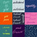 Set of nine different feminist lettering with background and a seamless pattern