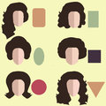 Set of nine different woman`s face shapes.