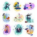 Set of nine drawings of people doing activities in a concept illustration in flat style