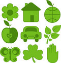 Set of nine ecology icons Royalty Free Stock Images