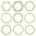 Set of nine elegant vintage round frames.