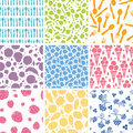 Set of nine food seamless patterns backgrounds vector with hand drawn elements Stock Photo