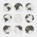 Set of nine globes