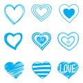 Set of nine hand drawn hearts this is file eps format Royalty Free Stock Photography