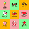 Set of nine logos for summer beach bar Royalty Free Stock Photo