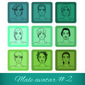 Set of nine male avatars can be used on the websi website or forum vector illustration Royalty Free Stock Photo