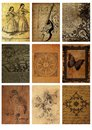 Set of nine old cards vintage collage tags images backgrounds abstract collage Royalty Free Stock Photo